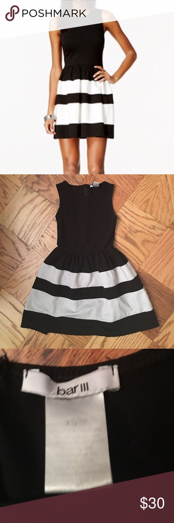 ✨Bar III Cocktail Dress!✨ ✨Bar III Cocktail dress! Worn once to a wedding. The white stripes have become a bit dull in color from the wash but could easily be brightened up with bleach or at the dry cleaners. No visible signs of wear. In great condition! Size XS✨ Bar III Dresses Midi