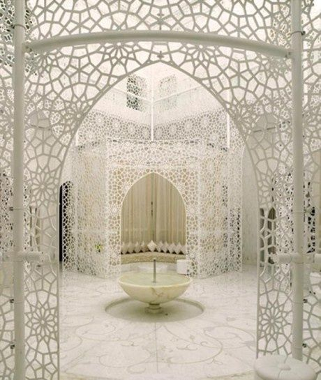 White lace-The Royal Mansour Hotel in Marrakech, Morocco. So pretty. I'd hate to be the person who has to keep it clean tho!