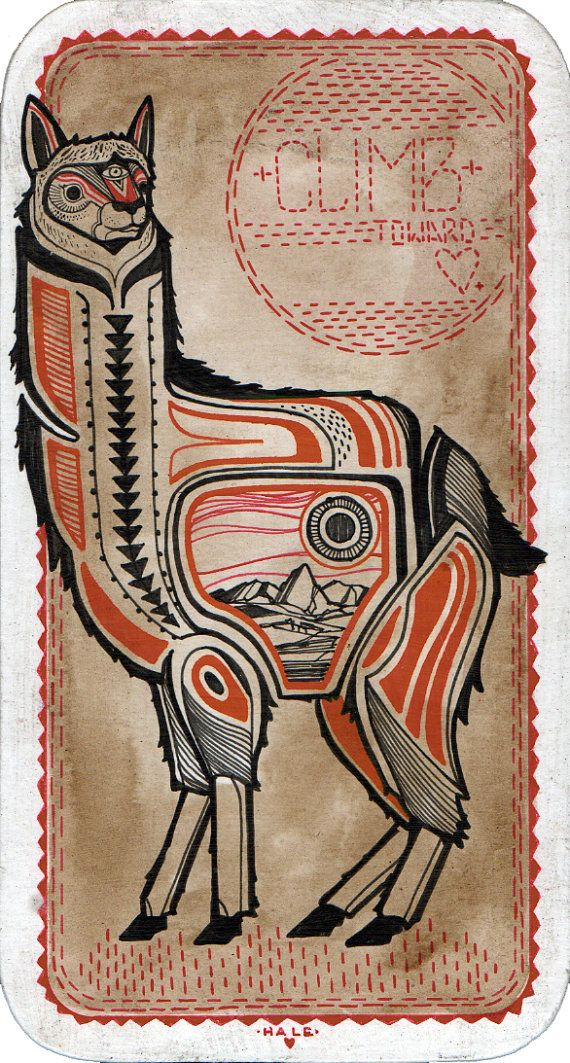 Climb toward Love / Original Alpaca Drawing   Alpacas in ...