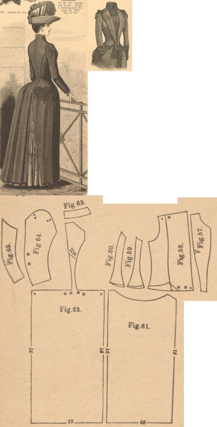 Der Bazar 1889: Black tricot-fabric outergarment; 57. front insertion, 58. front part with gathered lapel, 59. and 60. side gores, 61. skirt front part, 62. back gore, 63. collar in half size, 64. and 65. sleeve parts