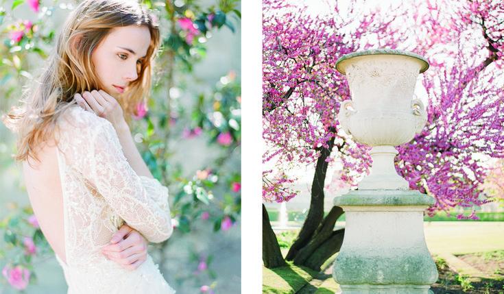 Monet inspired shoot featuring Ada Gown in beautiful Paris