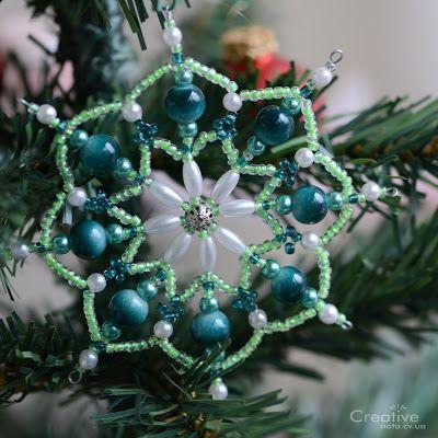 Зеленая снежинка из бисера - creative