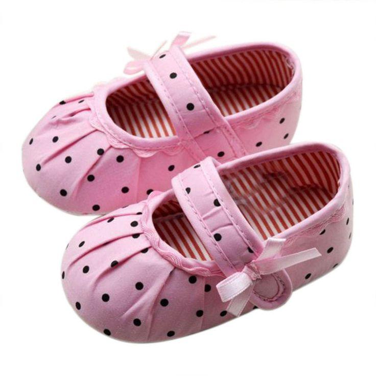 Младенческая Малышей Baby Girl Обувь Розовый Горошек Мягкой Подошвой Детская Кровать В Обуви Prewalker 0-12 месяцев YE01
