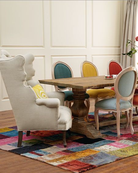 Neat mixture of colours and types of furniture. Brave and bold :)