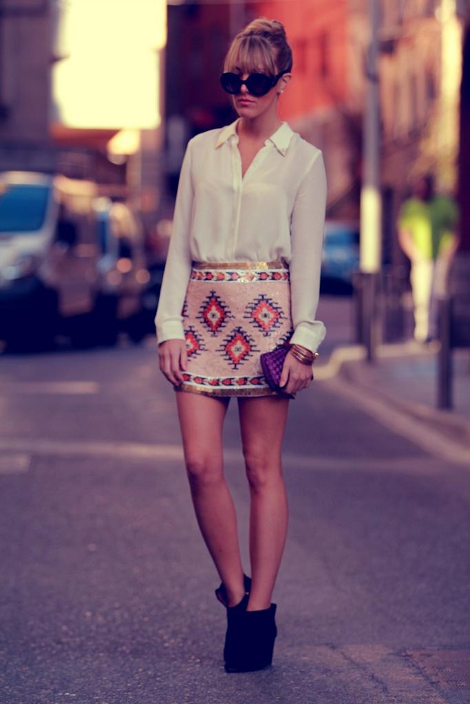 Sequined aztec-print skirt