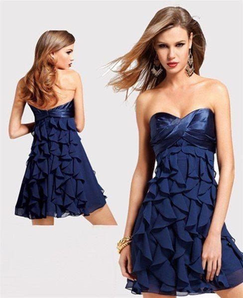 Korte jurken met blauwe prints