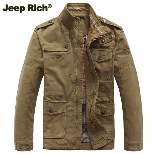 Jeep Rich Plus Size Military Epaulets Outdoor Stand Collar Casual Cotton Jacket for Men - Newchic