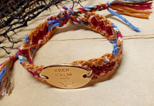 """Multicoloured threads bracelet with metal element """"Keep calm..."""" pink gold plated <3"""