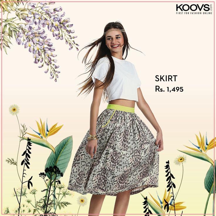 KOOVS Neon Waistband Printed Midi Skirt