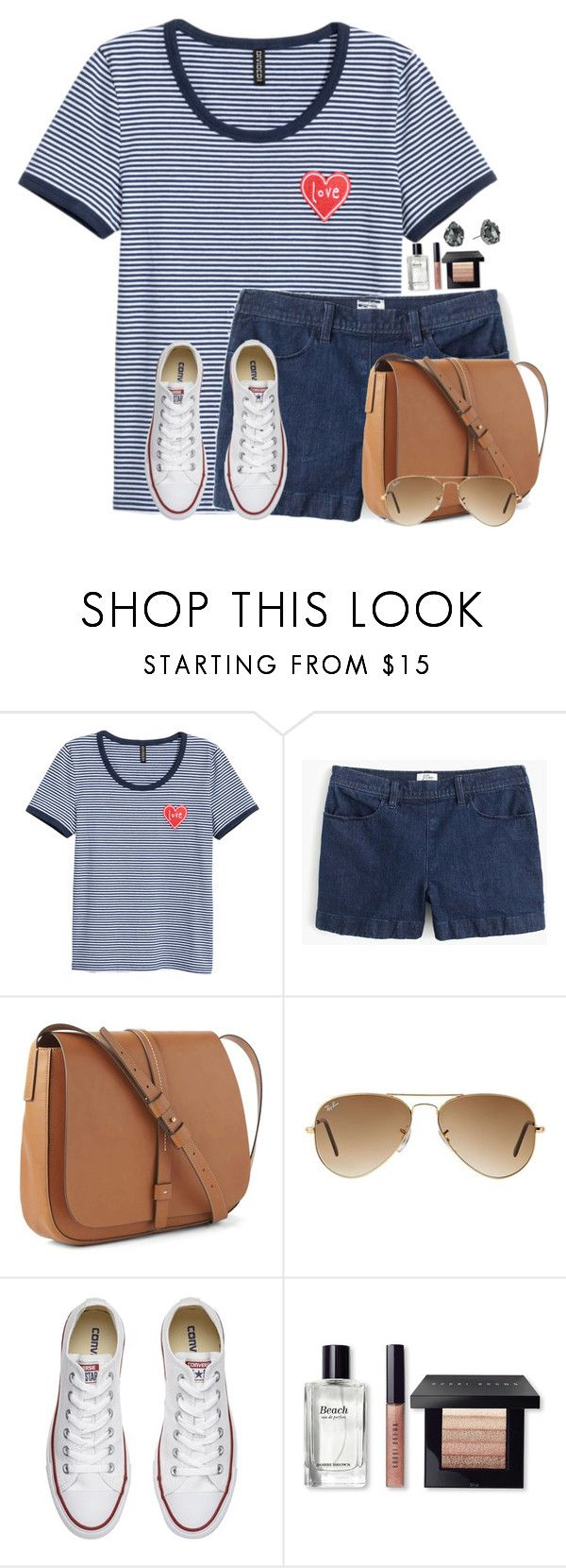 """""""Red, White, and Navy"""" by victoriaann34 ❤ liked on Polyvore featuring J.Crew, Gap, Ray-Ban, Converse, Bobbi Brown Cosmetics and Kendra Scott"""