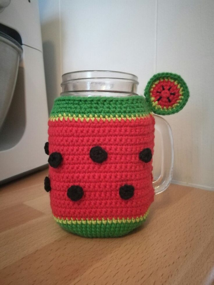 A smoothie-cup-warmer that looks like a watermelon. Something I made for my sister-in-law for christmas 😊