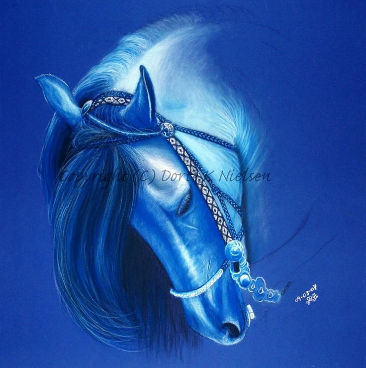 Blue Monochromatic Horse Portrait Drawing