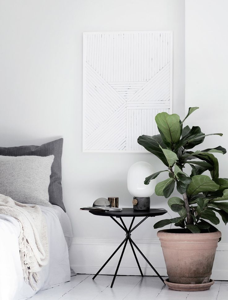 'Leaf me' print by Silke Bonde for The Poster Club in a bedroom
