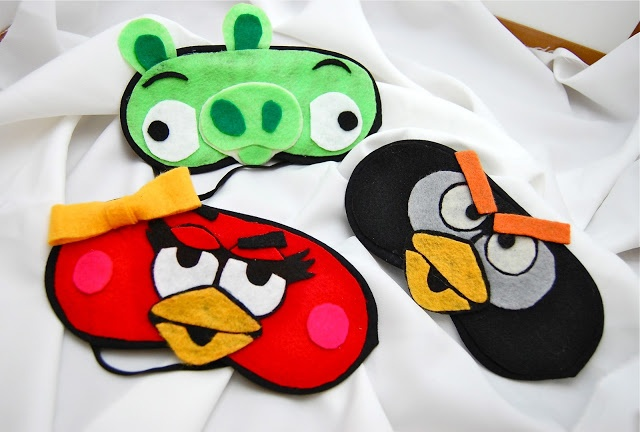 Easy DIY Angry Bird Eye Covers with felt and dollar store masks-