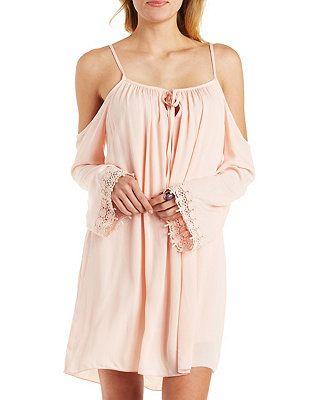 Crochet Trim Cold Shoulder Shift Dress: Charlotte Russe