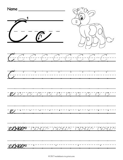 Free Printable Cursive C Worksheet Cursive Writing