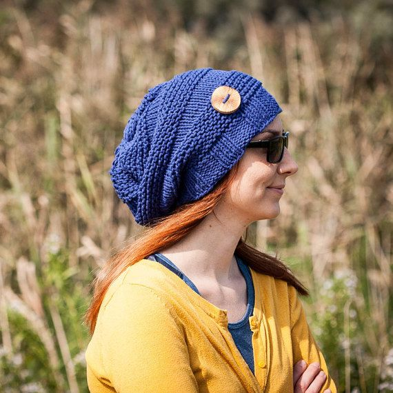 Navy Blue Slouchy Beanie Hat With Handmade Wooden Button /Blue Urban Style Hand Knit Beanie / Cotton Acryl French Yarn /Warm Fall Winter Hat