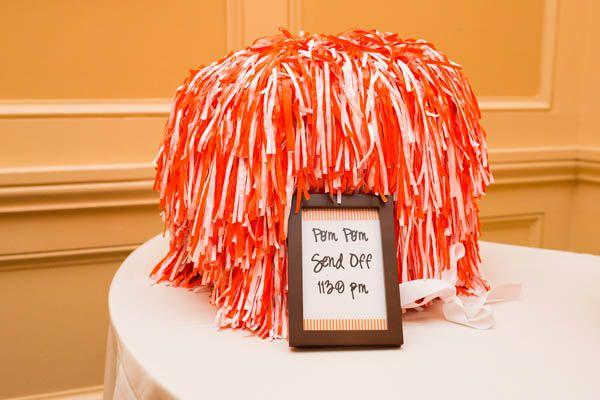 Pom pom wedding send off for sports superfans