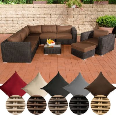 Poly Rattan Lounge Set ARIANO, 5 Mm RUND Geflecht, Alu Gestell