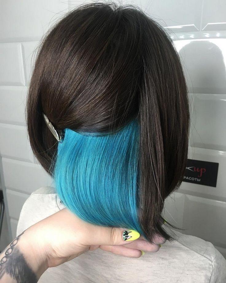 untere haare blau färben trend bob frisur | haare blau