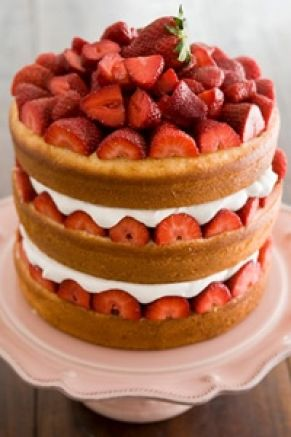 """Savannah Strawberry Tall Cake  - boxed white cake baked in 3 8"""" pans, strawberries, cream, cream cheese, sugar, vanilla in between the layers"""