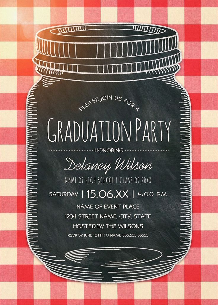 Graduation Picnic Invitations Rustic Country Mason Jar Graduation Party Invitations. Best rustic country graduation party invitations. Feature a creative chalkboard mason jar illustration on a classic tablecloth background. A beautiful text typography that you can edit. Perfect for rustic country themed, or other graduation parties. This creative mason jar graduation party invitation is customized. Just add your cerebration details. More at http://superdazzle.com