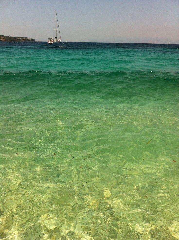 The sea boasts incredible colours on most Corfu beaches.