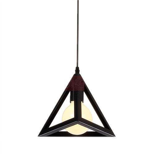 Pendant Lamp Shade American Style Modern Triangle Iron Lamp Cover Vantage Creative Decoration Light -Black