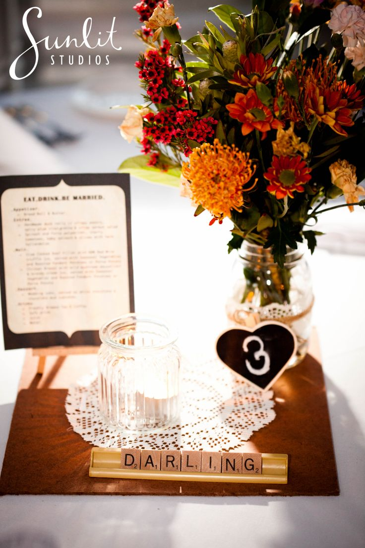 Wedding table names using scrabble letters, photography by Sunlit Studios
