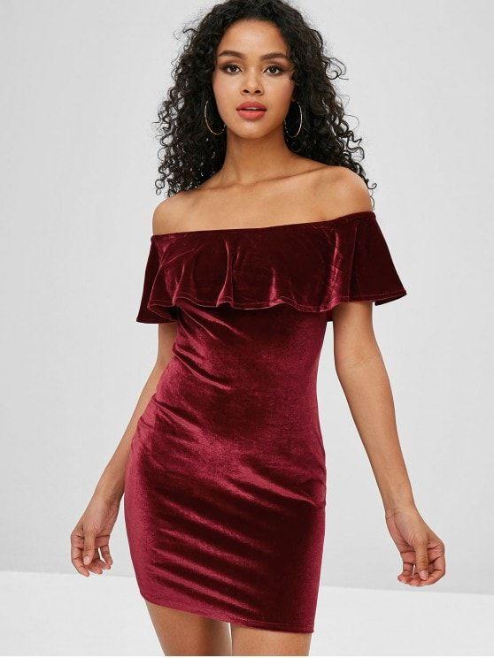 a723a59f0d Mini Flounce Velvet Off Shoulder Dress