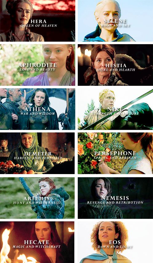 Female characters with their Greek goddess persona