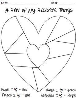 A great writing activity for Valentine's Day--heart map