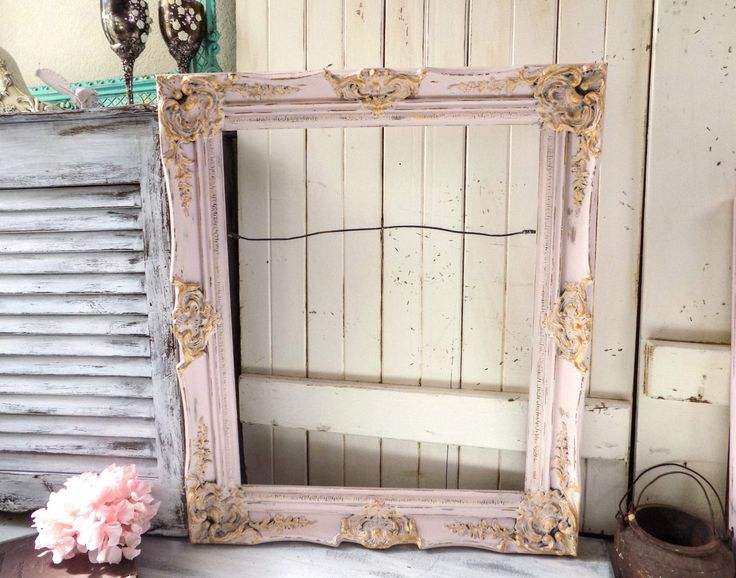 Blush Pink Ornate Large Frame, Shabby Chic Baby Pink and Gold Vintage Picture Frame, Wedding Frame, Big Open Frame, Pink Nursery Frame by WillowsEndCottage on Etsy https://www.etsy.com/listing/499555089/blush-pink-ornate-large-frame-shabby