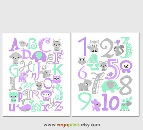 Mint and purple Alphabet and numbers art print set UNFRAMED