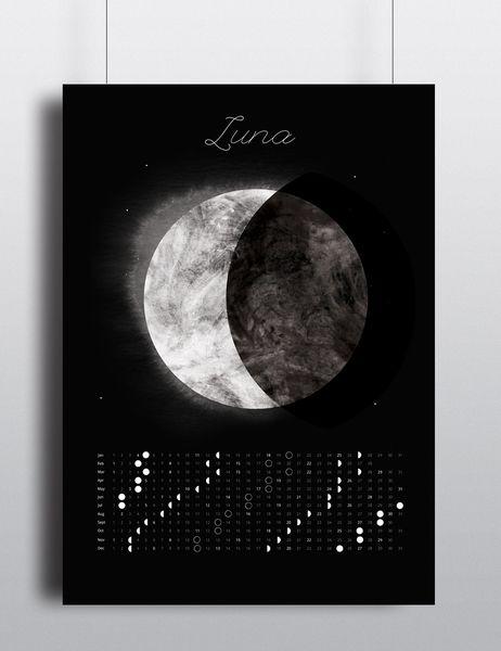 Fazy księżyca|Kalendarz 50x70 cm - AnitaTomala - Wydruki cyfrowe