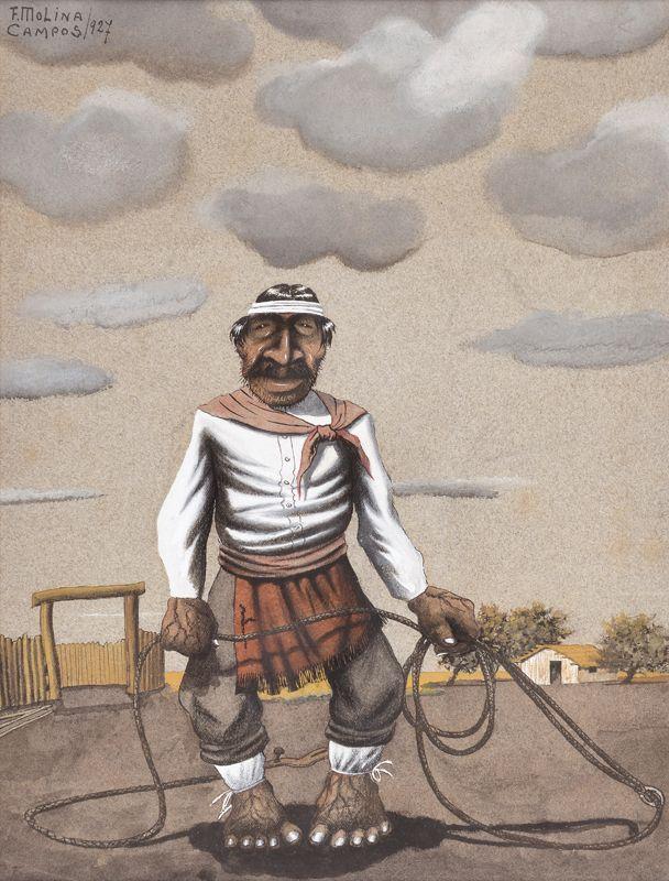 """MOLINA CAMPOS, Florencio Argentino 1891-1959 """"GAUCHO CON LAZO"""" Témpera.  Firmada F. MOLINA CAMPOS y fechada 927 arriba a la izquierda.  Medidas: 31 x 23 cm"""