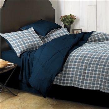Dorm bedding for college. Guy's plaid bed set.