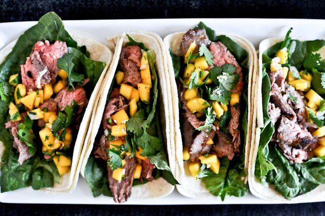 Thai Beef Tacos: Thai Beef, Fun Recipes, Tacos Recipes, Mr. Tacos, Steaks, Mango, Beef Tacos, Salsa, Coconut Milk Recipes
