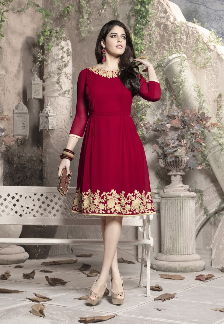 Red #Georgette #kurti with Flower print for new #Casual Look