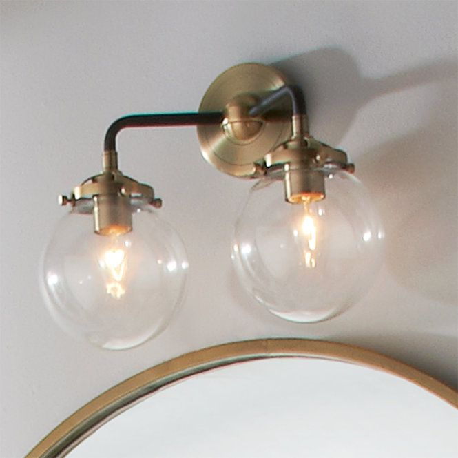 Mod Mix Clear Globe Vanity Light 2 Light Vanity Lighting Modern Vanity Lighting Vanity Light Bar