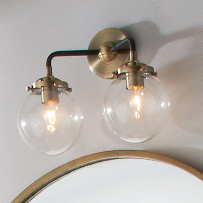 Mod Mix Clear Globe Vanity Light 2 Light Vanity Lighting