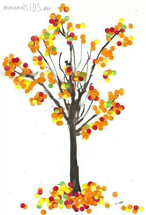 Fall trees hole punch art for hand strength