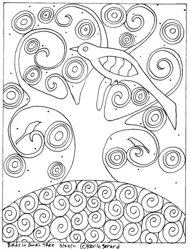Rug Hook Craft Paper Pattern BIRDS IN SWIRL TREE Folk Art Abstract Prim Karla G