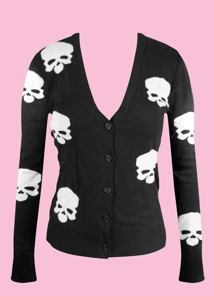 Image detail for -Skull Knit Button Up Cardigan Black Punk Pinup Hipster Rockabilly ...