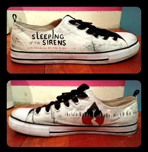 Women's Sleeping With Sirens Shoes by RisingRedFox on Etsy, $75.00