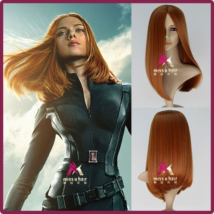 Captain America 2 Black Widow Wig Natasha Romanoff Medium Long Straight Synthetic Anime Cosplay Wig-in Wigs from Beauty & Health on Aliexpress.com | Alibaba Group