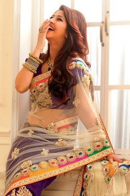Purple georgette & netcombo thread worked saree in white pallu