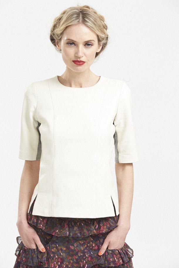 Skin on Skin Leather T in Sandstone, Ruffle & Hustle Silk Skirt in Plum. www.hideseekers.com