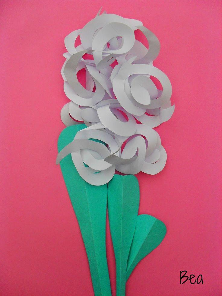 kreatywne prace plastyczne: Wycinanka z papieru - hiacynt, Paper cut - hyacinth, a card with a hyacinth