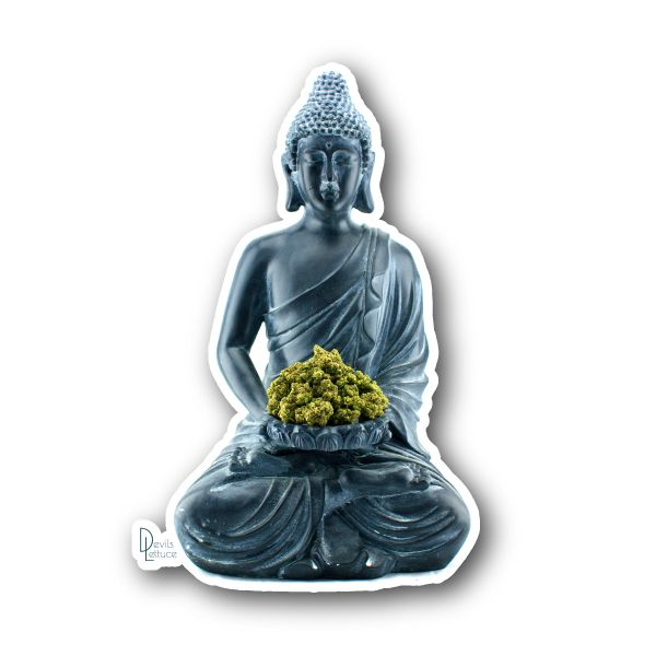 Buddha Holding Bud - Devils Lettuce Sticker | Vinyl Stickers | Marijuana Stickers | Clear Stickers